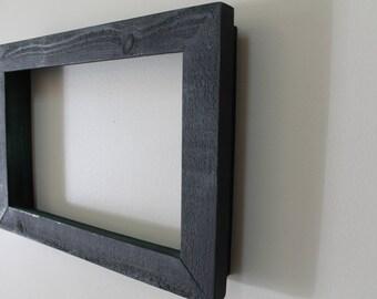 set of 5 black wood frames 15x105 frames rustic painted wood frame black green frame box frame chunky shabby chic frame bulk frames