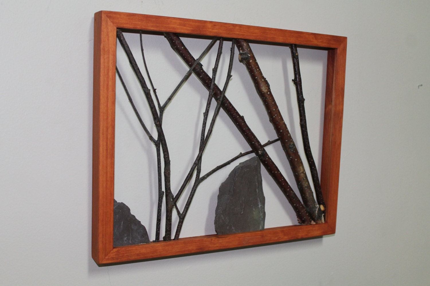 White birch twig wall art framed branch art rustic decor for White wall art