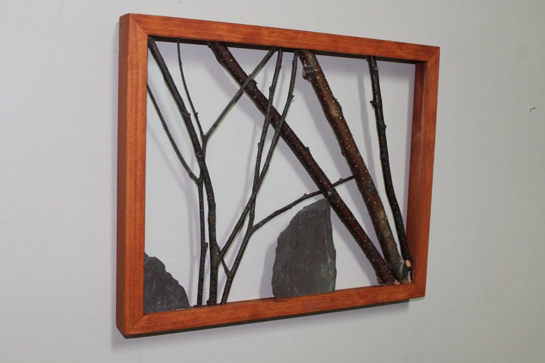 White birch twig wall art framed branch art rustic decor for Framed wall decor
