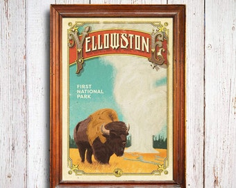 Yellowstone Poster, Yellowstone  National Park print, Wyoming Poster, Buffalo Poster, national park quest poster, Bison poster