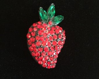 Schreiner Rhinestone Strawberry Brooch