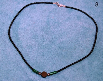 Black glass seed bead necklace
