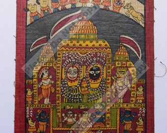 Vintage Rare Jagannath Puri Krishna Balraam Subhdra Original Old Gouache Painting Orissa #3401