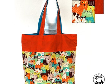 Tote shopping bag reversible with cats