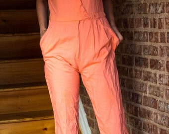 80s Salmon Short Sleeved Jumpsuit