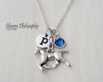 Horse Necklace - Antique Silver Horse Charm - Monogram Personalized Initial and Birthstone