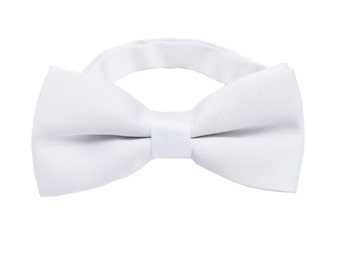 Natural White Bow Ties.Wedding Bow Ties.White Silk Bowties.Mens Bow Ties.Pretied Bow Ties with Adjustable Strap
