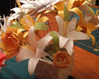 Yellow Paper Flower Centerpiece