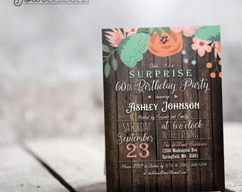 Rustic Surprise Party Invitation - Personalized Printable DIGITAL FILE