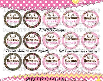 "INSTANT DOWNLOAD - Hunting Princess - 1"" bottle cap designs - bottle cap crafts - bottle cap ideas - bottle caps for hair bows"