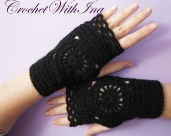 READY TO SHIP Black lacy fingerless gloves/Office fingerless gloves/driving gloves/texting gloves/Ръкавици без пръсти