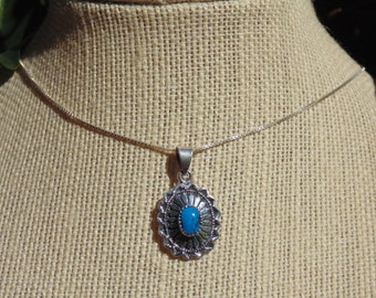 Small Sterling Silver and Turquoise Pendant Necklace