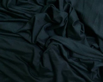 Black Rayon Spandex Fabric Stretch Jersey Knit Fabric by the Yard.