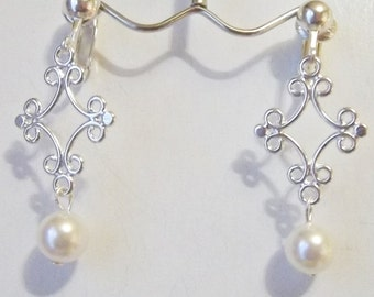Swarovski Crystal White Pearl 8 mm,1.25 inches  Handmade Clip on or Pierced Silver Plated Dangle Earrings V12
