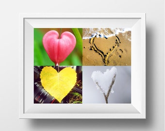 Seasons of Love photo print, Seasonal Art Print, Photo Art Print, Seasonal Hearts Printable, INSTANT DOWNLOAD, Wall Decor