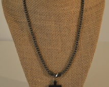 Vintage Black Hematite Cross Necklace from the Moutains of Northern New Mexico, Southwestern Jewelry, Religous Jewelry, Crucifix Unisex
