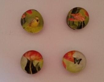 Floral/Bird Glass Magnets (Set of 4)
