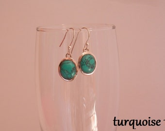 turquoise earrings silver turquoise earrings turquoise sterling silver earrings dangle earrings natural turquoise jewelry turquoise stone