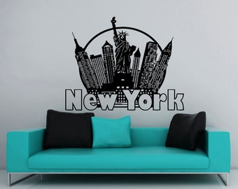 New York Wall Decal City Skyline Statue Of Liberty Decals Vinyl Sticker Wall  Decor Home Interior