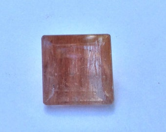 Rutilated Quartz (Rutile In Quartz) Loose Gemstone Faceted Square 10mm 4.75ct