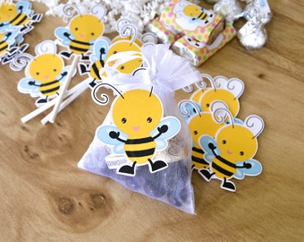 16 Bee Favor Tags, Bee Birthday Decoration, Birthday Bee Tags, Baby Shower Favor Tags, Bee Gift Tags