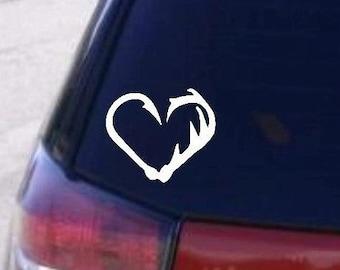 Car decal, Fish hook, Deer Antler, Heart,  Computer decal, Decal