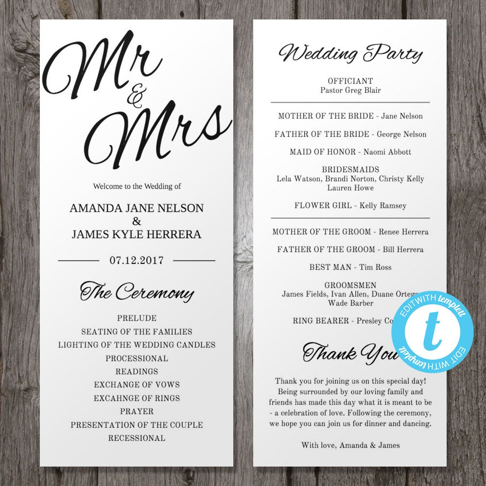 Free Printable Wedding Program Templates: Printable Wedding Program Template Mr & Mrs Instant Download
