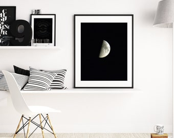 Waxing Moon, Moon, Moon Art, Moon Print, Moon Wall Decor, Moon Wall Art, Moon Poster, Moon Wall Hanging, Moon Phases, Lunar Phase