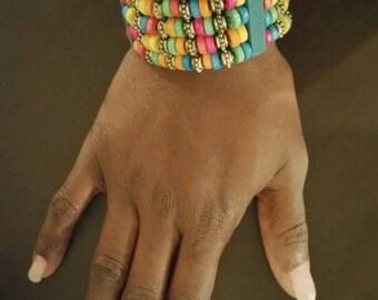 Handmade beaded wooden colorful  bracelet