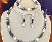 "CLC432  White Pearls & Lapis Chips  ~ Set Includes: 16"" Necklace, 7"" Bracelet, Silver Plated Earrings"
