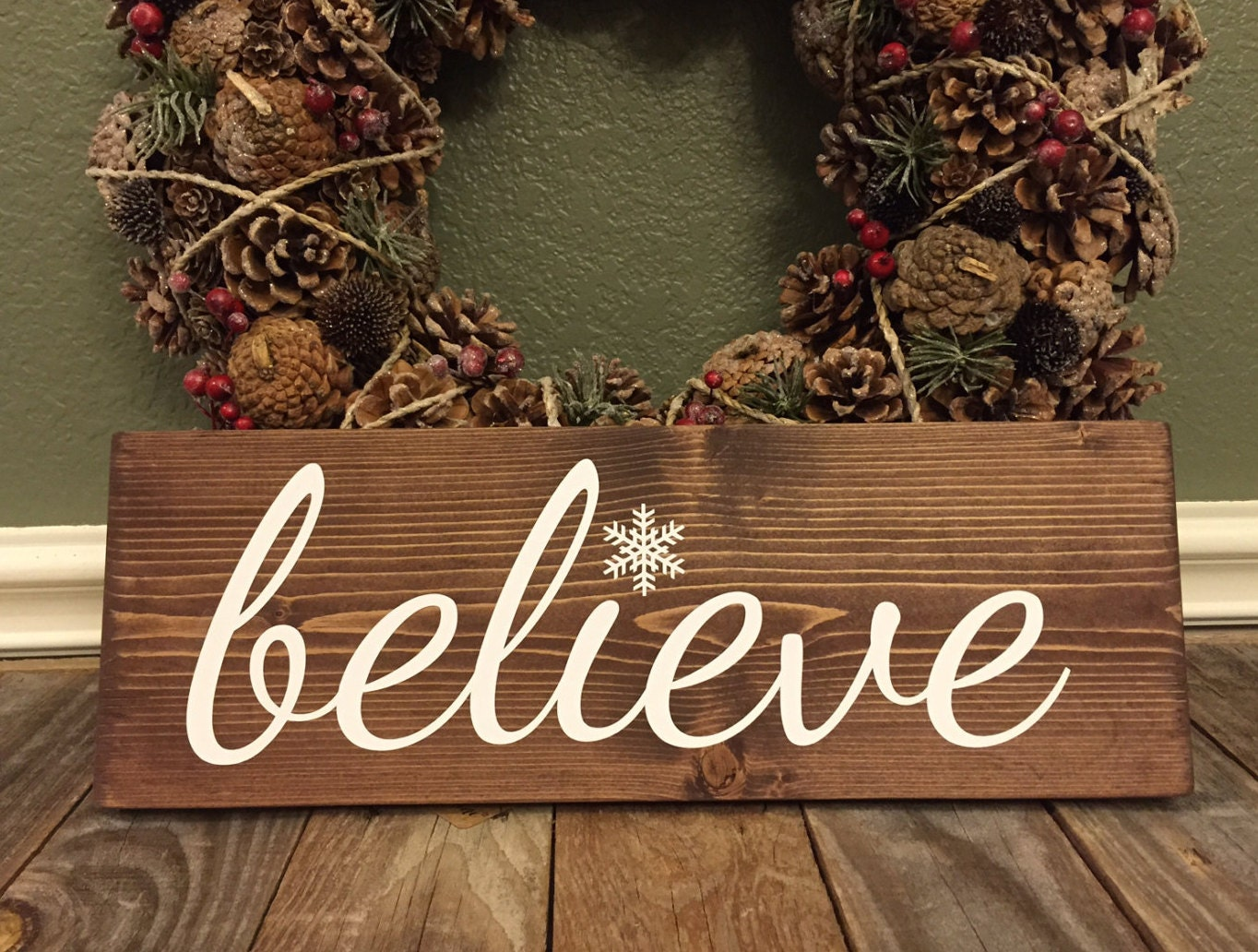 Christmas Sign Holiday Sign Believe Sign Snowflake Wood