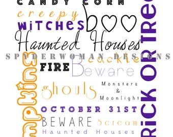 Halloween Printable, Halloween art, fall wall art, printable art, Halloween print, orange wall art, fall printable, fall print