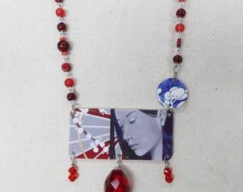 Original Indie Handmade Necklace with Vintage Red Beads