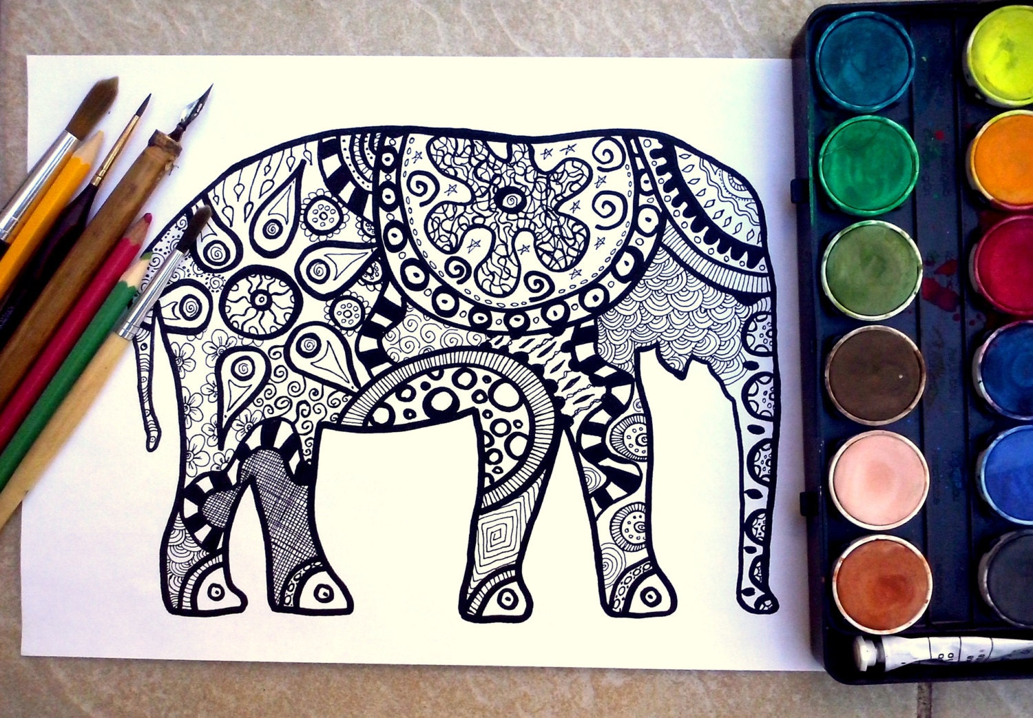 exquisite elephant coloring page coloring page print little