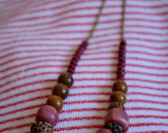 Collar necklace, wood and polymer polymer/clay beads
