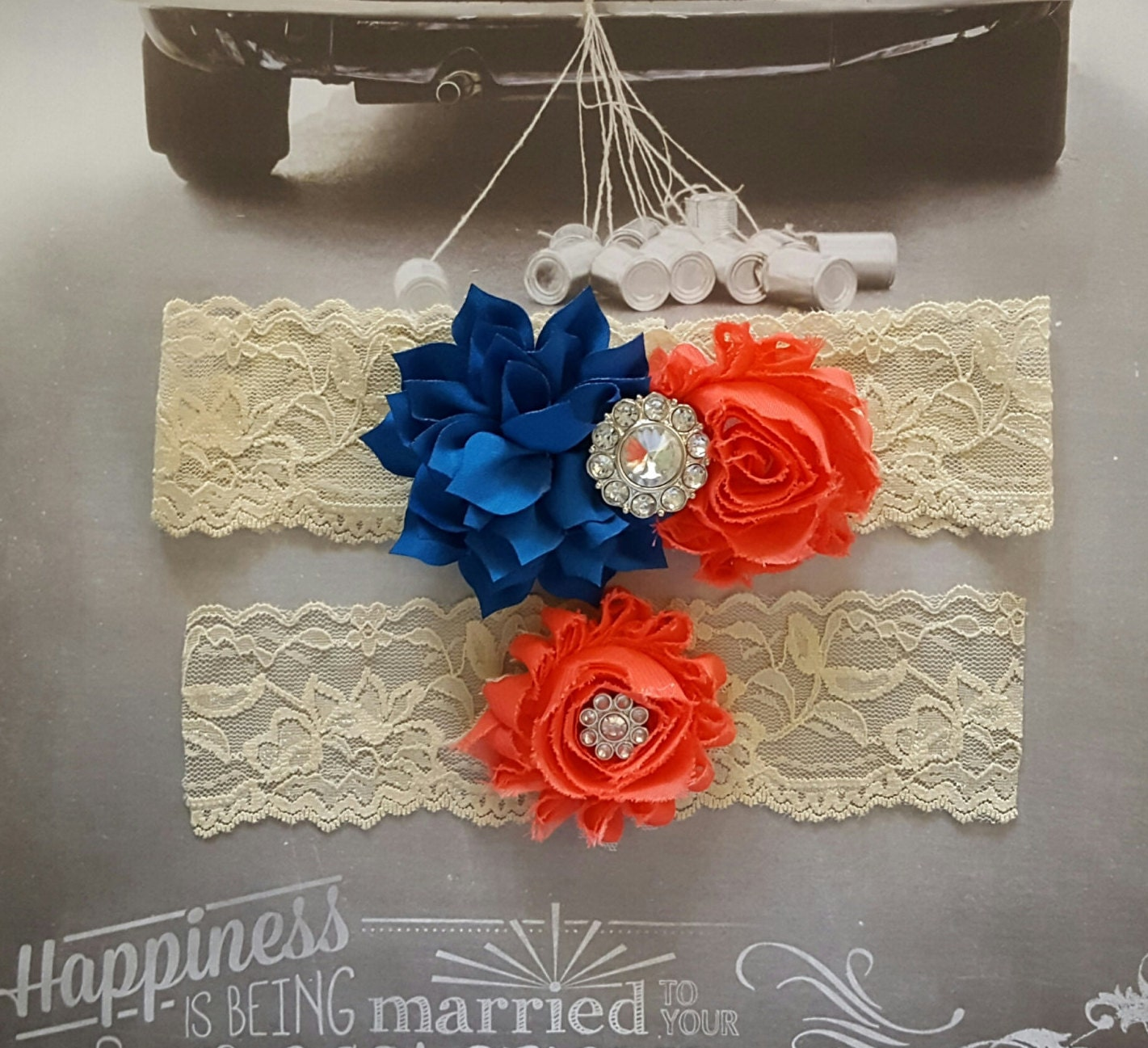 Red Wedding Garters: Colbalt Blue And Poppy Red Wedding Garter SetRed And Royal