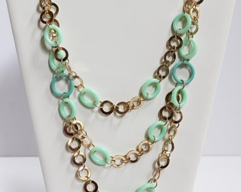 Handmade Teal Circle Necklace
