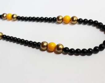 Yellow & Black Vintage Necklace