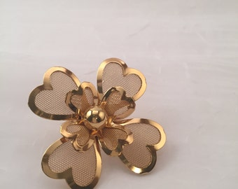 Vintage pin/ brooch, four leaf clover, double 4-leaf clover pin/brooch, gold wire mesh, 4 leaft clover, luck