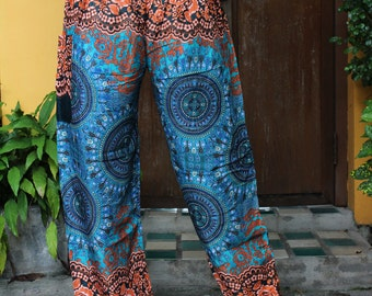Harem Pants Yoga pants Hippie Pants Bohemian Pants Peacock Design Green