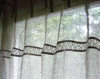 Airy Linen curtain  panels linen curtains with lace and ties curtains french cottage style ORIGINAL DESIGN by Luxoteks