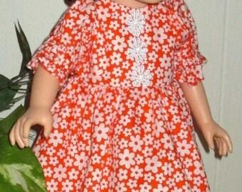"18"" orange floral short doll dress, short sleeve doll dress, floral doll outfit,"