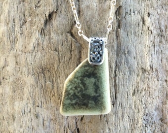Sterling Silver Sea Beach Pottery Pendant Necklace Pinch Bail