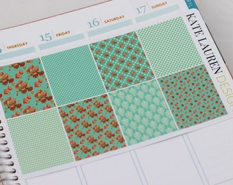 Turquoise Shabby Chic Planner Stickers for Erin Condren Planner, Patterned, Floral, Decorative
