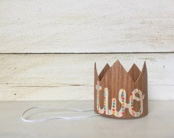 Second Birthday Boy Crown Party Hat- Boy Second Birthday Outfit, Two Birthday Crown, Photo Prop, Baby Crown, Mini Wood Crown Party Hat