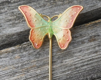 Vintage Butterfly Pin. Enamel. 1980s. Gift For  Mom, Wife, Christmas. Coral Green & Ivory. Anniversary