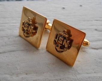 Vintage U.S. Navy  Cufflinks . 1990s Gold Toned. Gift For Groomsmen, Groom, Dad, Husband.