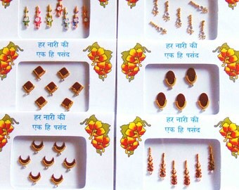 10 packs - Long designer bindis, bollywood bindis, Fancy bindis, Temporary tattoos, Bindi Jewelry forehead tikka Gems Bellydance