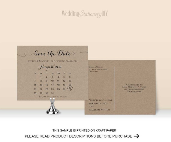 items similar to august 2016 wedding save the date printable save the date postcard diy. Black Bedroom Furniture Sets. Home Design Ideas