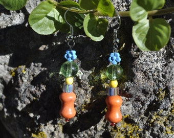 Orange with Blue Daisies Earrings - 014